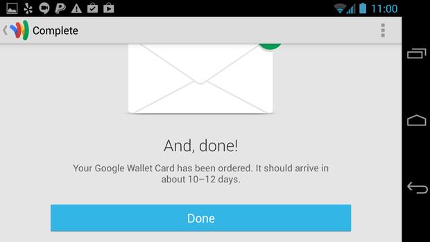 google wallet card ordered