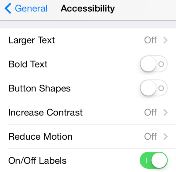 ios71 accessibility settings