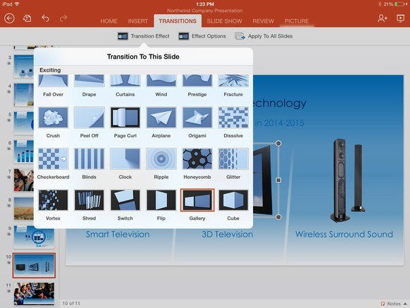 office for ipad powerpoint transitions