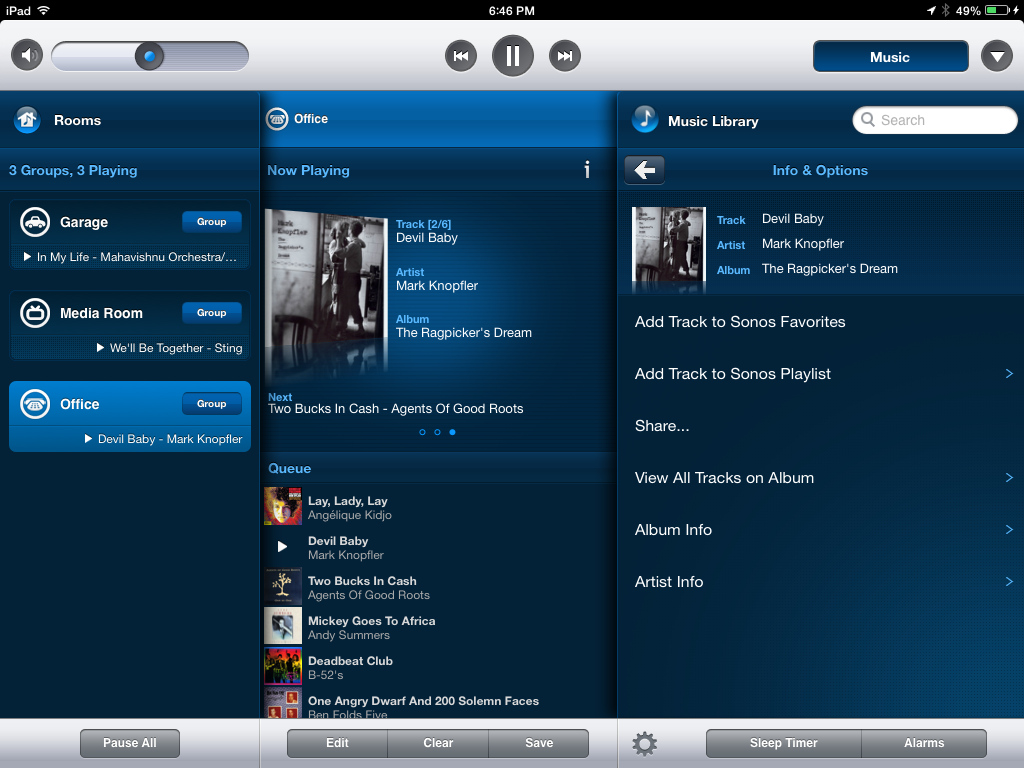 Screenshot from the SONOS controller application (desktop version). Photo credit: www.techhive.com