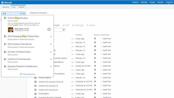 onedrive for business new search