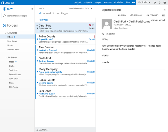 outlook web app de clutter your inbox