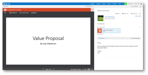 outlook web app integrated word