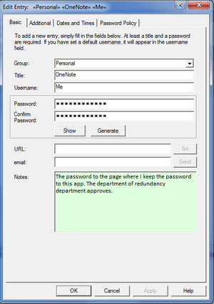 password safe entry