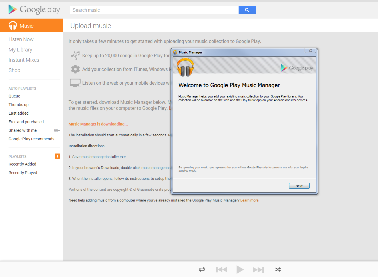 how to download google play music from mobile to device