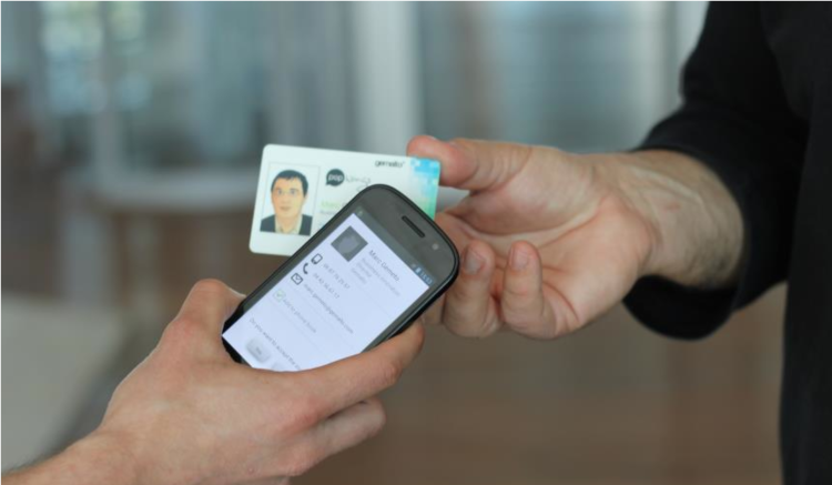 5 ways to digitize your business cards pcworld popwings enables business card sharing between nfc capable phones reheart Image collections