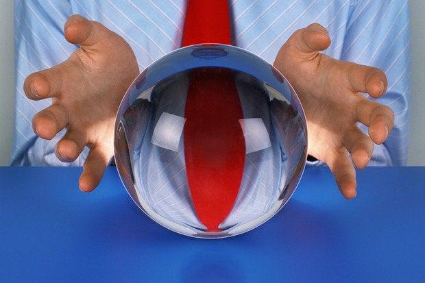 businessman crystal ball