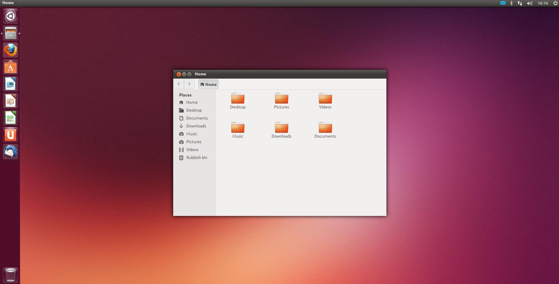 The Ubuntu Desktop With The Windows File Explorer Like Home Folder Open.  Ubuntu Does Not Have Program Finding Tool Similar To Windowsu0027 File Explorer.