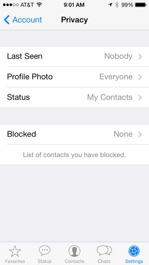 Whatsapp Privacy settings
