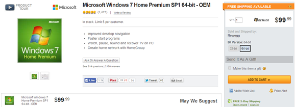 windows 7 home premium newegg