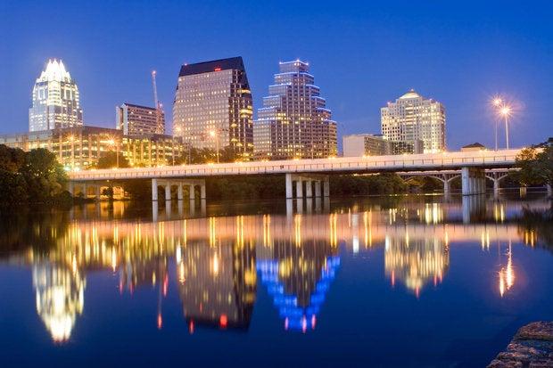 austin texas skyline at night 144289962