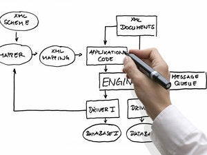 business hand showing database structure 124873357