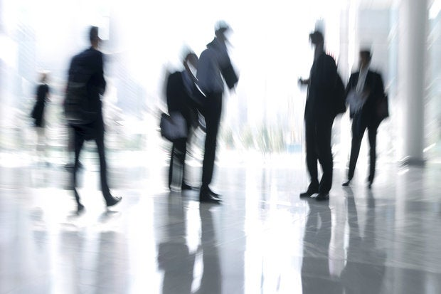business people activity in the office lobby motion blur 141097605