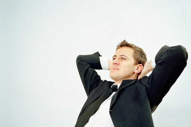 businessman relaxing stretching calm thoughtful 56515092