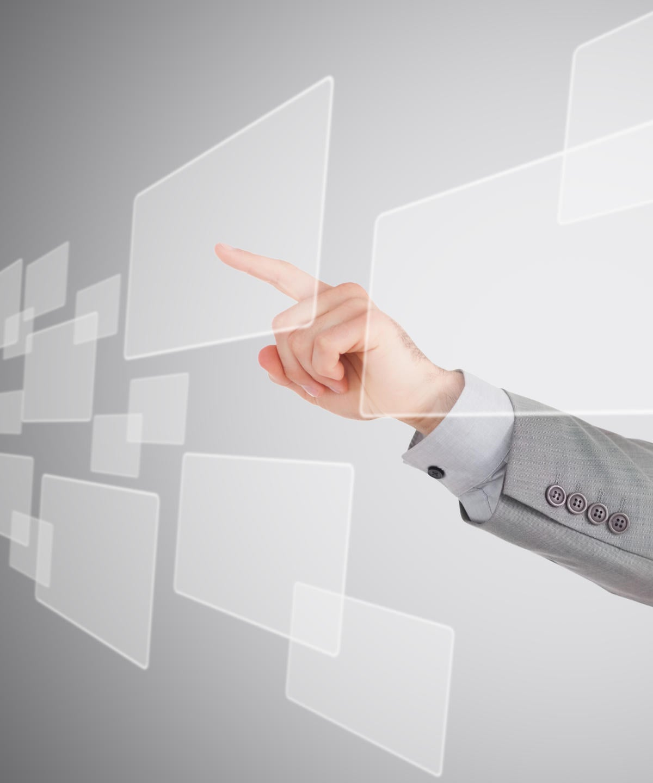 businessman touching pane on interface 172586712