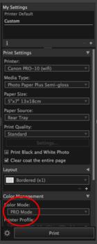 Canon Pixma Pro-10 Pro Mode color management