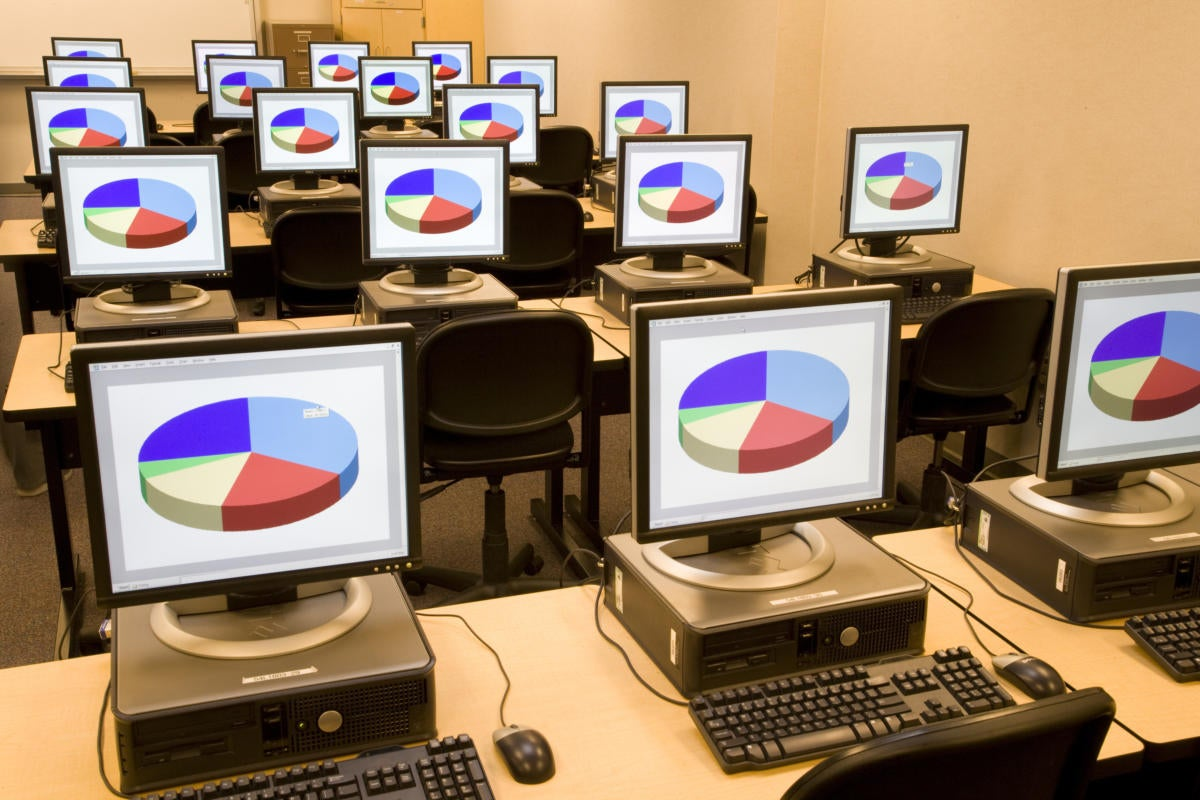 Computers in a high school classroom
