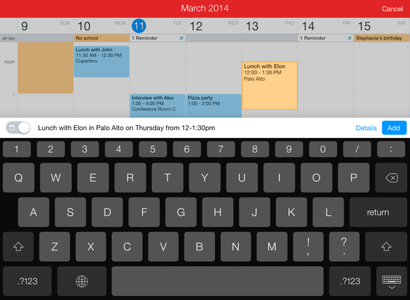 fantastical 2 for ipad new event
