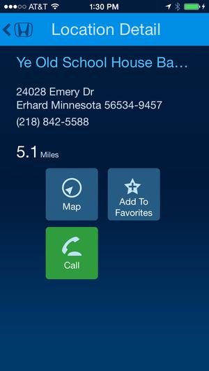 hondalink navigation app screen location detail april 2014