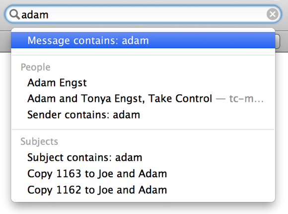 select message contains as shown here and mail searches message contents for whatever is in the search field