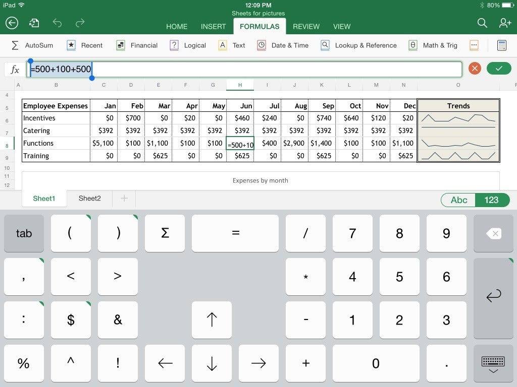Excel for ipad the macworld review macworld the numeric keyboard which combines mathematical symbols and numbers on one panel greatly speeds entry of formulas buycottarizona
