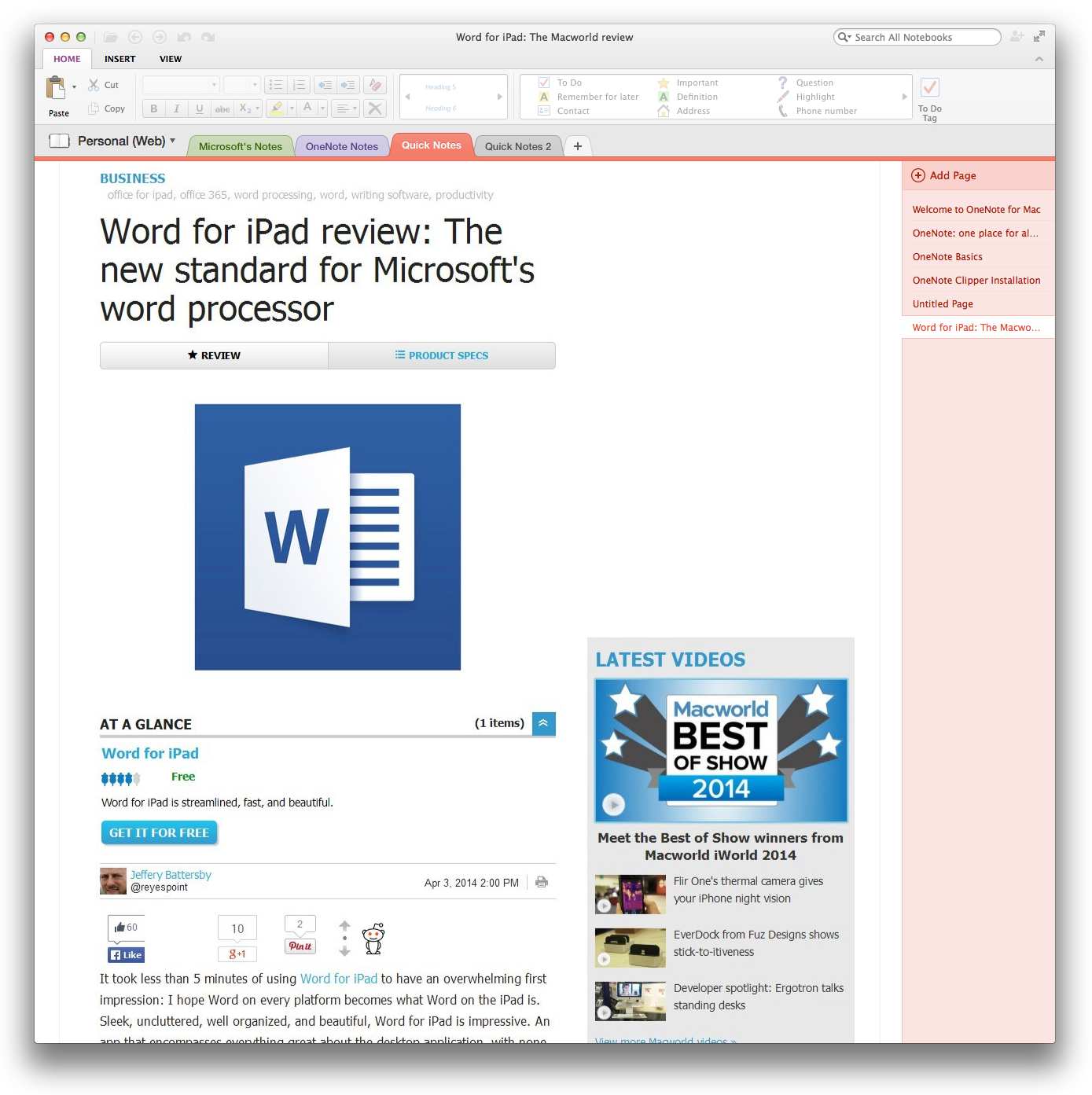 Microsoft OneNote for Mac review: Compelling but not yet