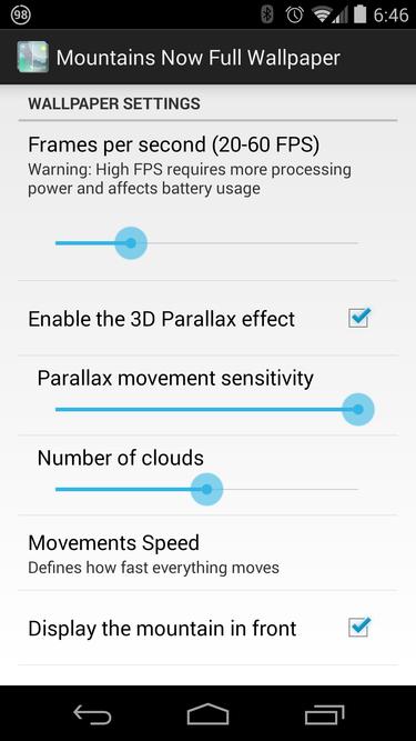 parallax settings