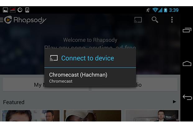 rhapsody chromecast