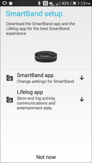 sony lifeband app screen