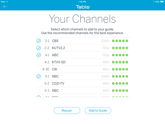 Tablo, adding channels