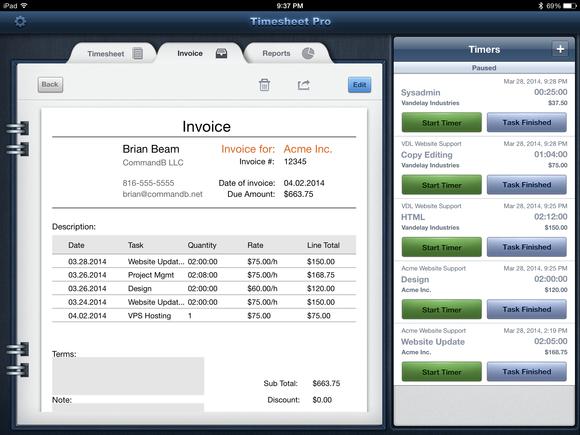 TimeSheet Pro iPad