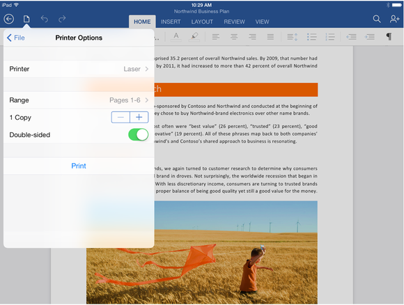 Microsoft word for ipad print options edit