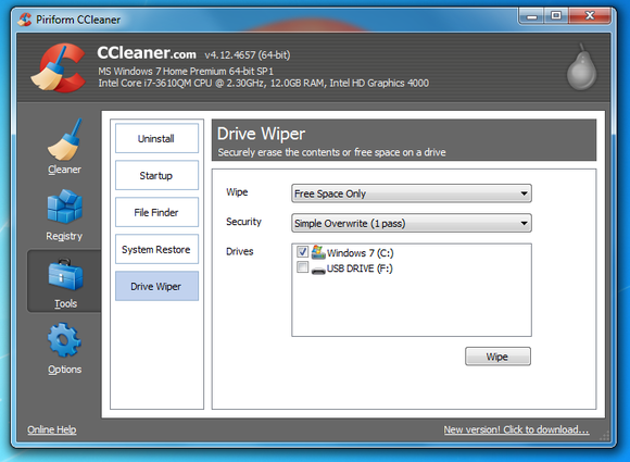 8 ccleaner free space wipe