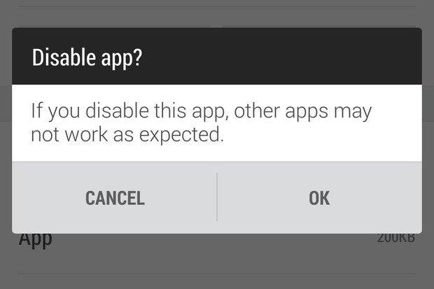 app warning