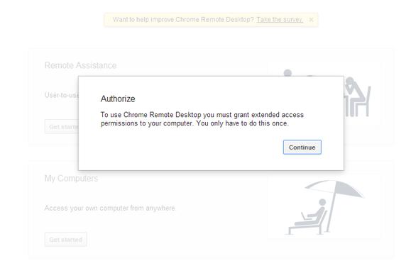 authorize chrome remote desktop