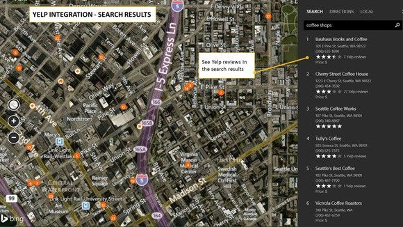 bing maps yelp integration