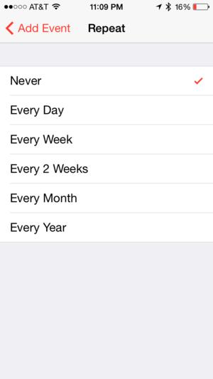 calendar recurring