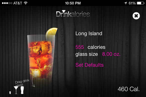 drinkalories long island