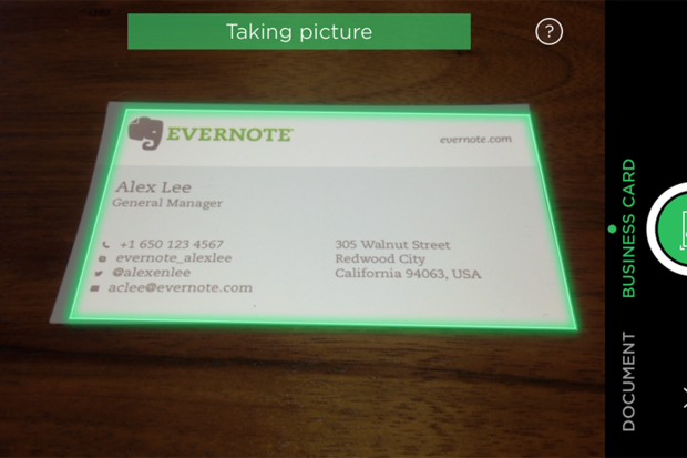 evernote biz card scanning
