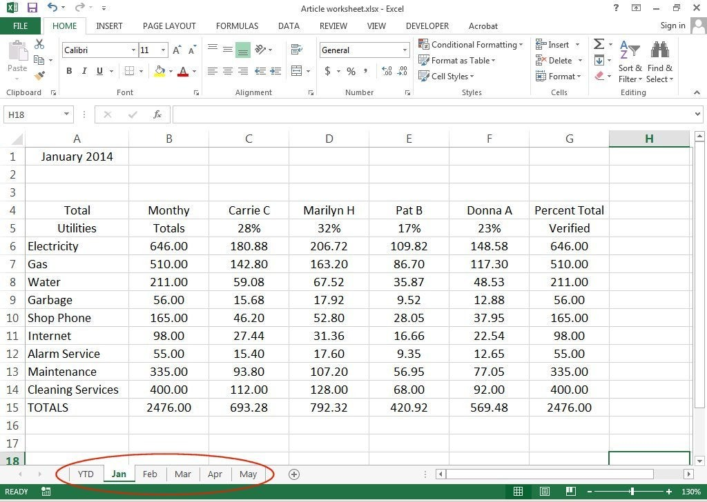 How to create 3D Worksheets in Excel 2013 – Components Of A Spreadsheet