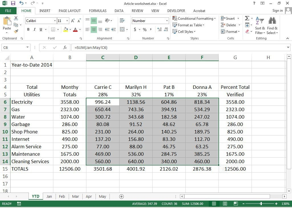 How to create 3D Worksheets in Excel 2013 – Create Worksheet