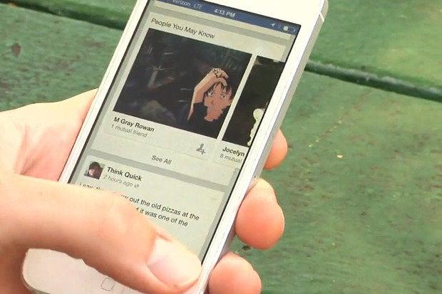 Facebook mobile thumb smartphone user