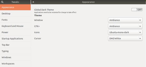 gnome tweak appearance menu