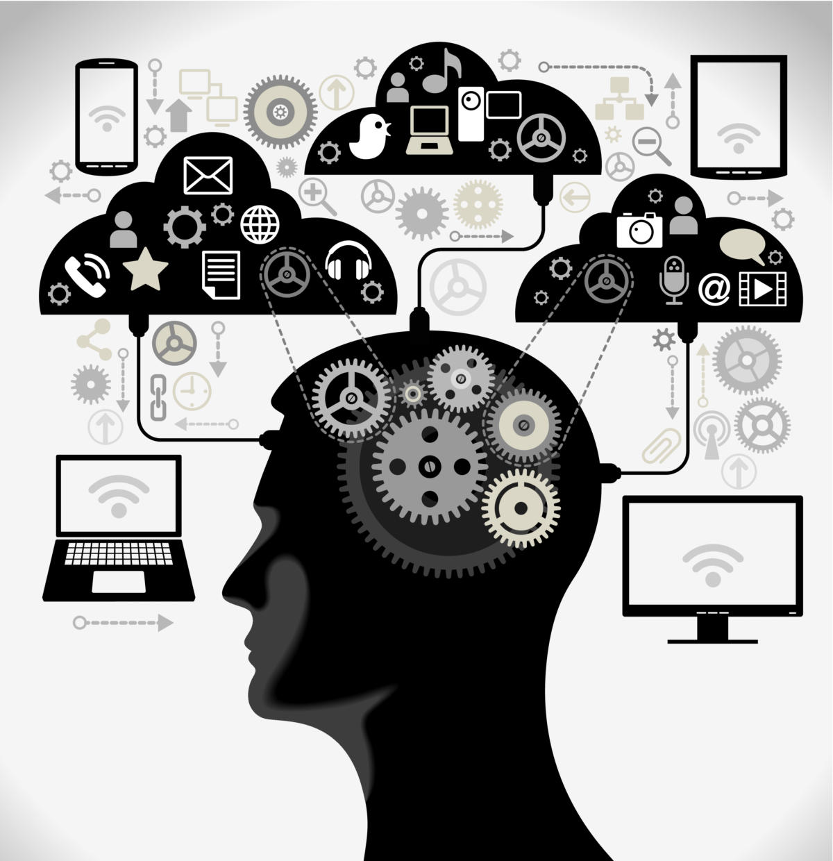 human head interface computers gears thoughts clouds tablets mobile brain
