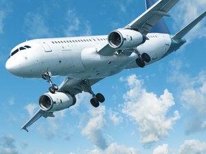jet aircraft is maneuvering for landing 149957988