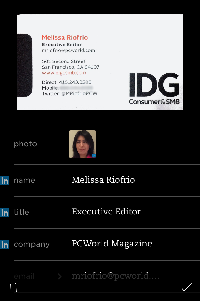 5 cool ways to use business cards in evernote pcworld evernote pulls in your contacts linkedin info reheart Gallery