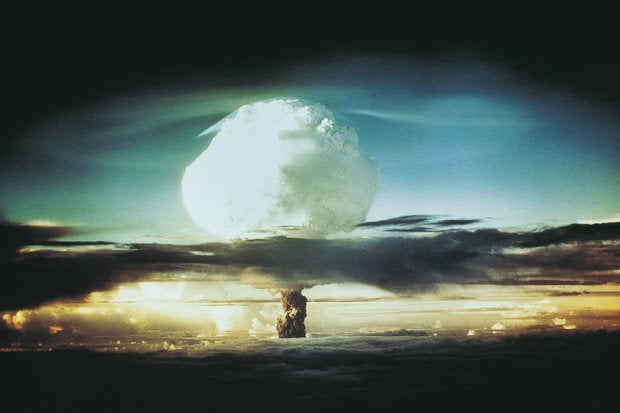 nuclear bomb test bikini atoll mushroom cloud explosion detonate