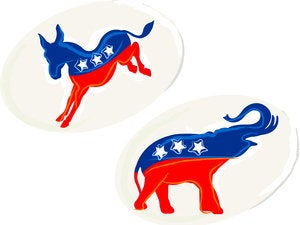 painterly republican and democratic stickers 93128806