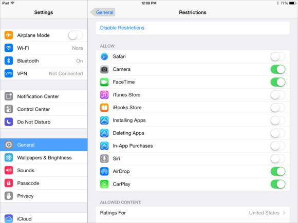 iPad parental controls