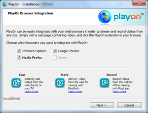 PlayOn browser integration